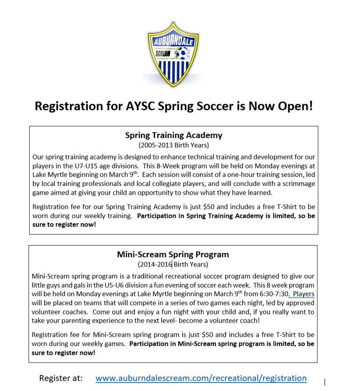 2020 Spring Soccer Academy registration Now Open